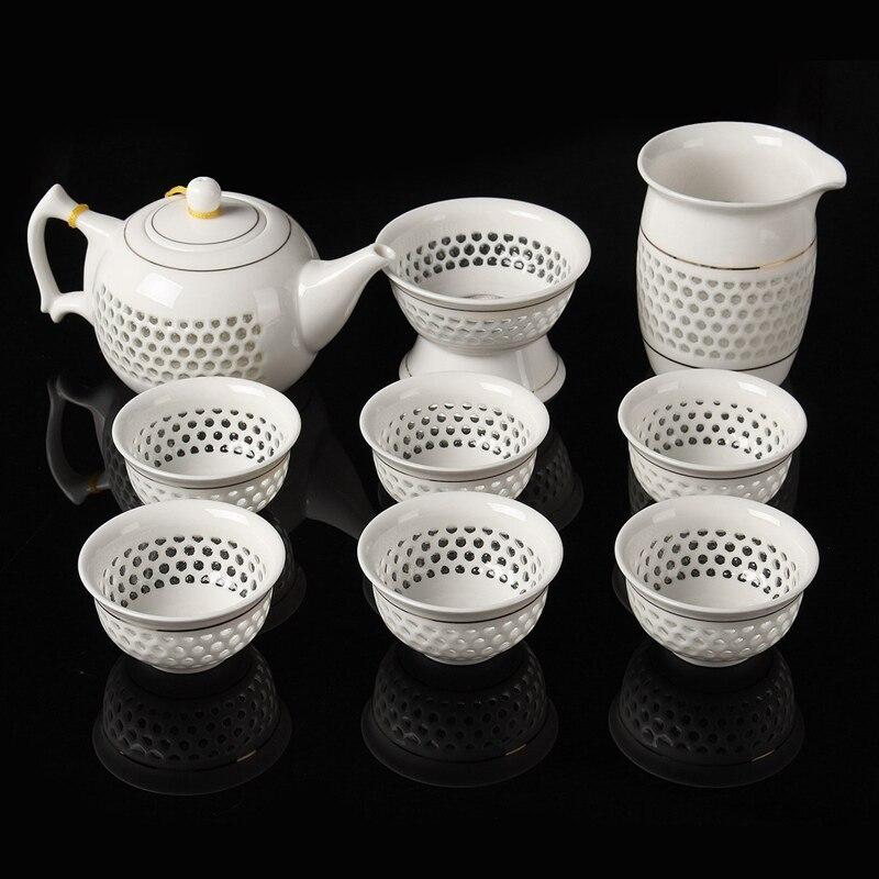 9Piece set Elegant Chinese Travel Teaset Ceramic Portable Teacup Kung Fu Tea Set 6 Cups Teapot