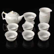9 Teil/satz Elegante Chinesische Reise Teaset Keramik Tragbare Teetasse Kung Fu Tee-Set 6 Tassen Teekanne Filter Tasse Tee Container wasserkocher