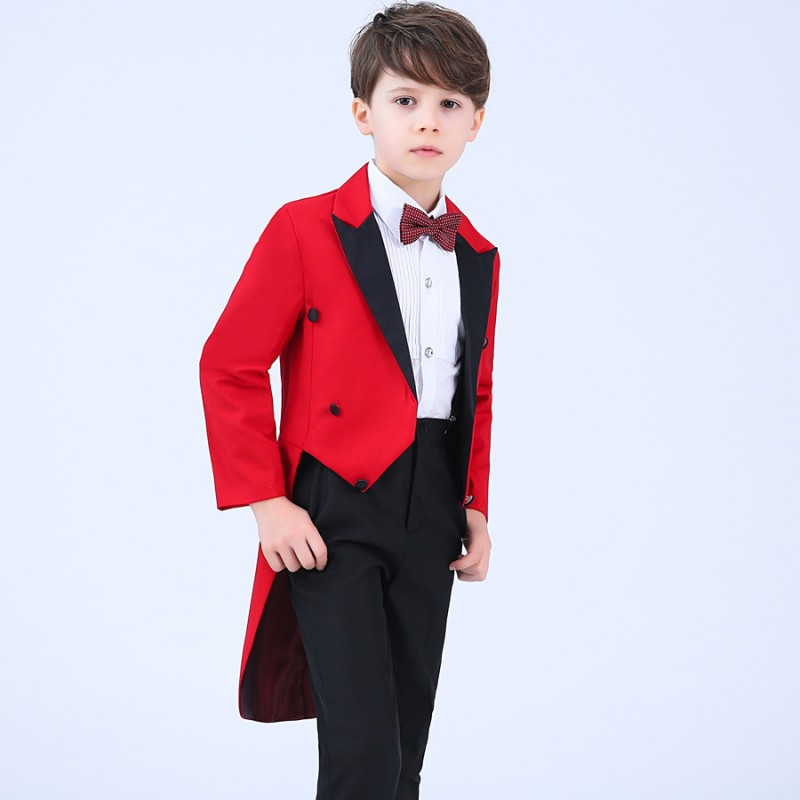 Baby Boy Suit 2018 Wedding Boy Costume Suit Trousers Bow Tie Shirt Kids Suits Boys Dancing Party Long Kids Blazer Terno Menino anime sakura akizuli nakuru cosplay costume blue suit shirt coat skirt tie d