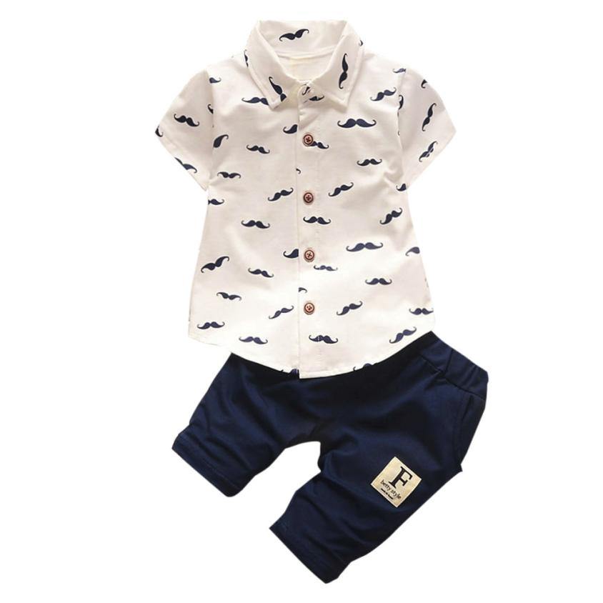 Baby Boys Clothing Kids Beard Print Turn Down Collar T Shirt Tops+Shorts Pants Outfit Clothes Set Roupas De Bebe Menino @6204 2pcs children outfit clothes kids baby girl off shoulder cotton ruffled sleeve tops striped t shirt blue denim jeans sunsuit set