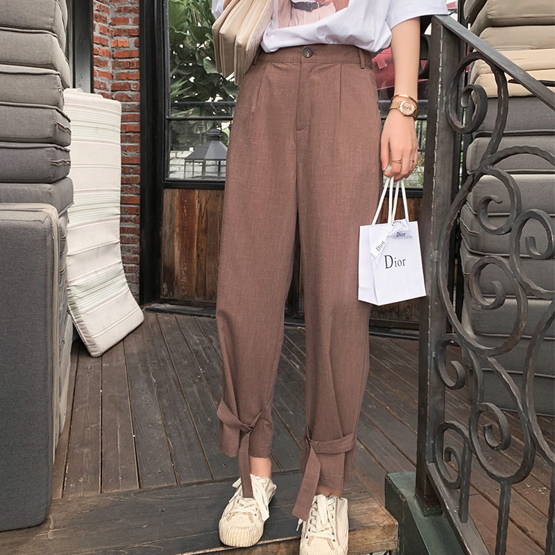 Mishow 2019 summer new collection solid ankle-length high waist   wide     leg     pants   MX19B2577