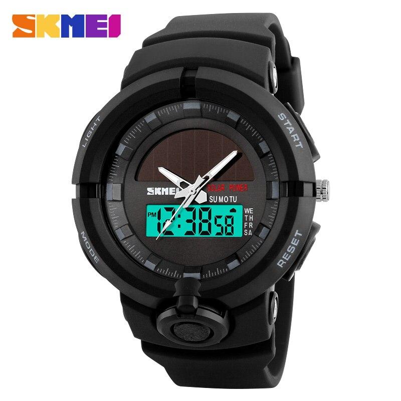 1275 Männer Solar Powered Uhren Digitale Doppel Zeit Sport Uhr Wasserdichte Armbanduhren Relogio Masculino Skmei Smart Uhr