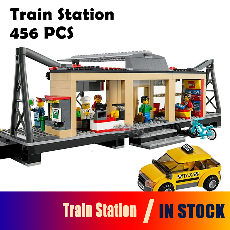 456Pcs 02015 Model Building Blocks toys Train Station Compatible with lego City Series 60050 Brick DIY toys & hobbies lepin 02012 city deepwater exploration vessel 60095 building blocks policeman toys children compatible with lego gift kid sets