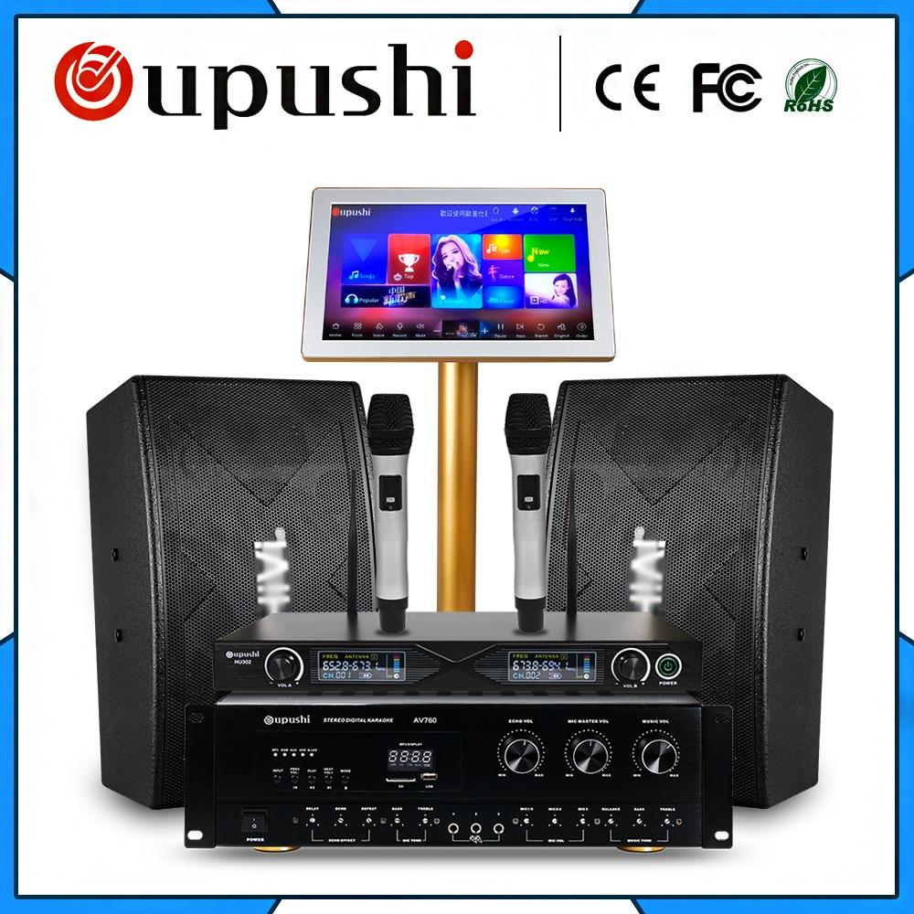 Семейный плеер KTV для караоке вечеринок, 4 ТБ, HD + 10 дюймовый динамик + сенсорный экран 19 дюймов, с песней + усилитель мощности