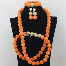 2015 Elegant African Costume Jewellry Set 48 inches Necklace Nigerian Wedding Bridal Beads Jewelry Set Free