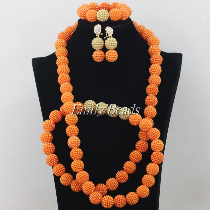 2015 Elegant African Costume Jewellry Set 48 inches Necklace Nigerian Wedding Bridal Beads font b Jewelry