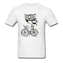 Owl By Bicycle T Shirt Men Super Funny T-shirts Custom Simple Casual Cartoon Tops Tees Summer White Tshirt Cotton Clothes New(China)