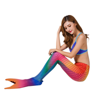 Summer Swimmable Mermaid Tail Dress Women Swimwear Colorful Bikini Fairy Mermaid Costume Swim Fin Monofin Adult