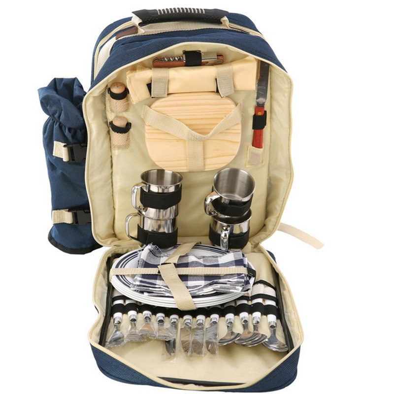 Outdoor Camping Picnic Bag Backpacks With Tableware  Insulated Cooler Bag 4 Persons Set Storage Dinnerware Food Portable 2Colors 20l extra large camouflage cooler bags thermal insulated picnic bag box travel picnic food storage accessories supplies products
