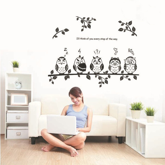 Black leaves lovely owls wall decal home sticker paper removable art picture murals diy stick kids