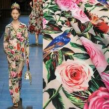 e6a3019a526 1 м шифон Ткань Подиум Цветок Птица Роза печати DIY шарф платье Материал  половина юбка ткань
