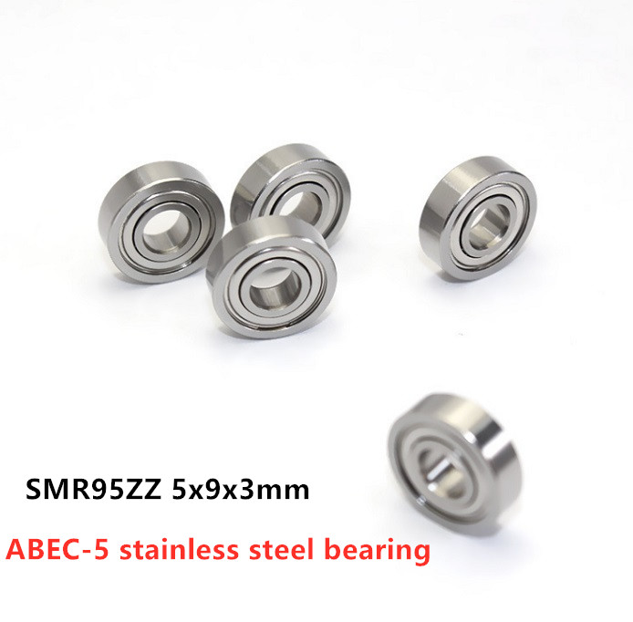 50pcs/lot ABEC-5 SMR95ZZ 5x9x3 Stainless Steel Miniature Ball Bearing SMR95 -2Z 5*9*3mm