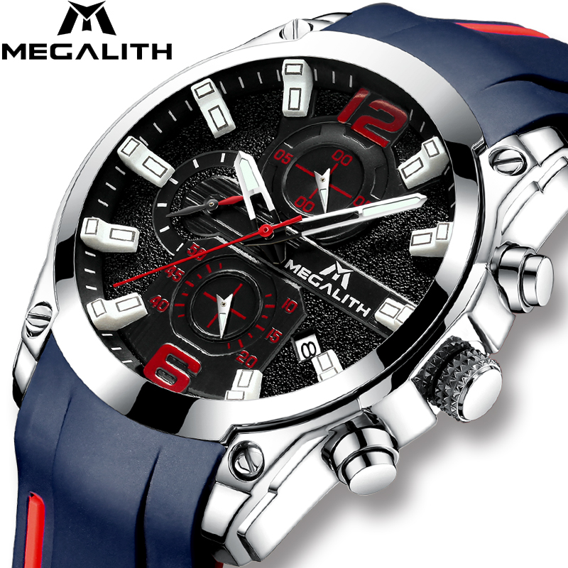 MEGALITH Sports Watch Mens Chronograph Analog Quartz Watch With Waterproof Date Silicone Rubber Strap Wristswatch For Man ClockMEGALITH Sports Watch Mens Chronograph Analog Quartz Watch With Waterproof Date Silicone Rubber Strap Wristswatch For Man Clock