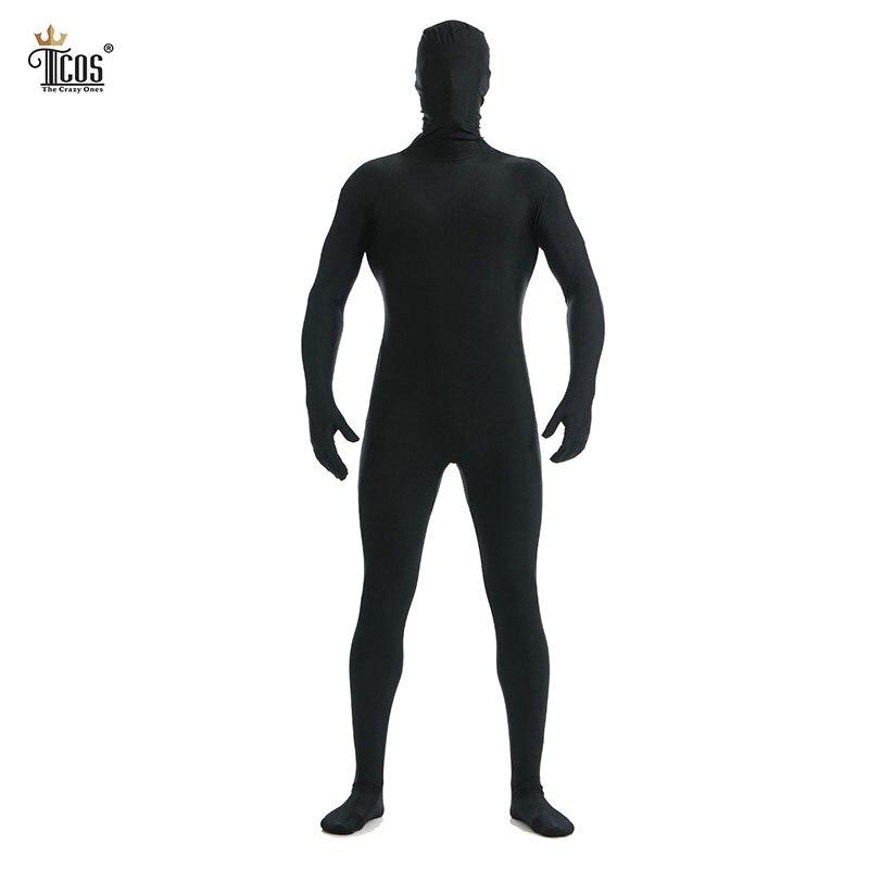 Tcos Negro Zentai Hombres Traje de Fiesta Lycra Segunda Piel Tight Disfraces de Halloween Cosplay Envío de la gota