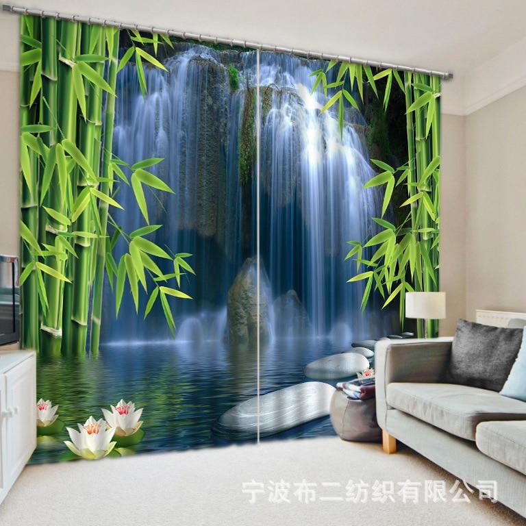 2017 ombre tissu forêt chutes imprimer 3D rideaux occultants pour la literie salle de séjour rideaux Cotinas para vente