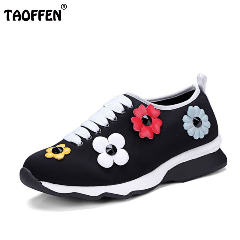 TAOFFEN Women Leisure Round Toe Pumps Flowers Low Heels Shoes Women Corss Strap Daily Heel Party Lady Office Footwear Size 34-39 ladies leisure casual flats shoes low heels lady loafers sexy spring women brand footwear shoes size 34 39 p16171