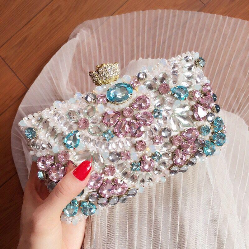 New summer luxury custom Beaded Evening Bag Blue Diamond diamond hard package box and bag bag wedding bride