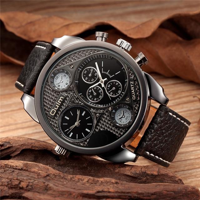 6a42ed0b603 Oulm Relógios Masculino relógio de Quartzo-Relógio Ocasional Pulseira De  Couro relógio de Pulso Militar