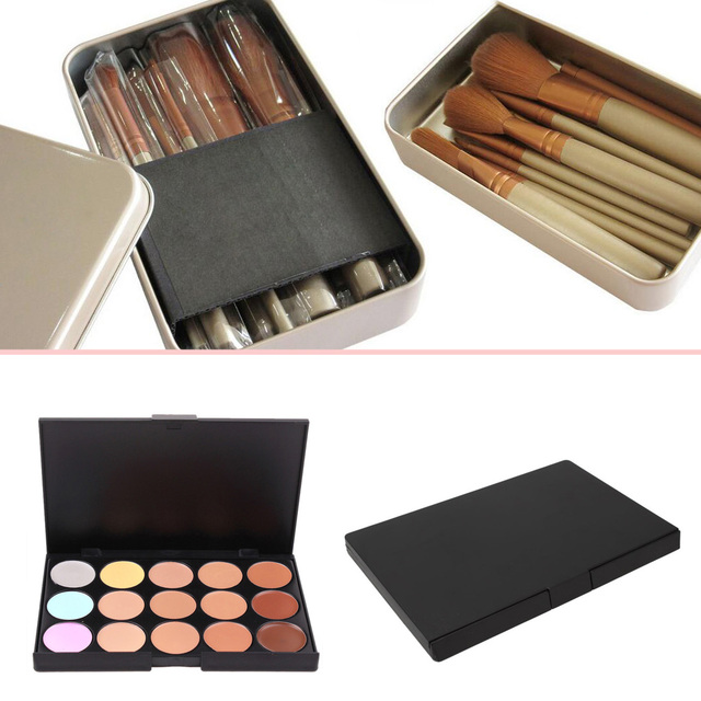 New 12pcs Powder Foundation Blusher Lip Makeup Brushes Set With NK3 Metal Box + 15 Colors Concealer Eyeshadow Comestic Palette