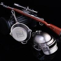 Game Playerunknown's Battlegrounds Pans + Kar98k + helmet 3D Weapon Model Beads Chain Pendant Necklace PUBG Keychain