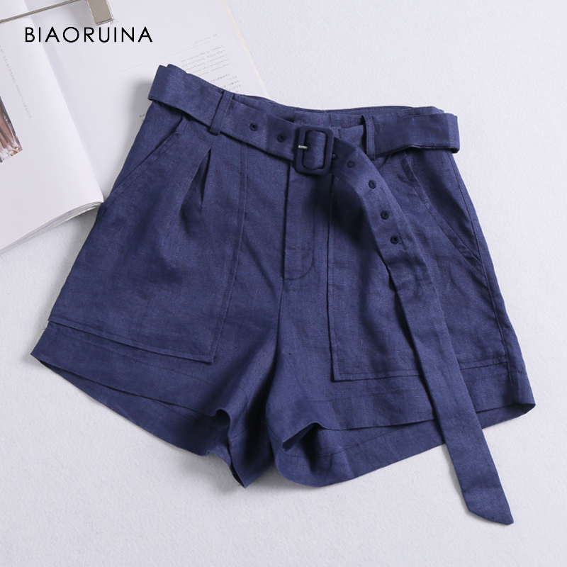 BIAORUINA Womens Linen Breathable Solid   Short   with Belt Female Loose High Waist Wide Leg   Shorts   Women Summer Casual   Shorts