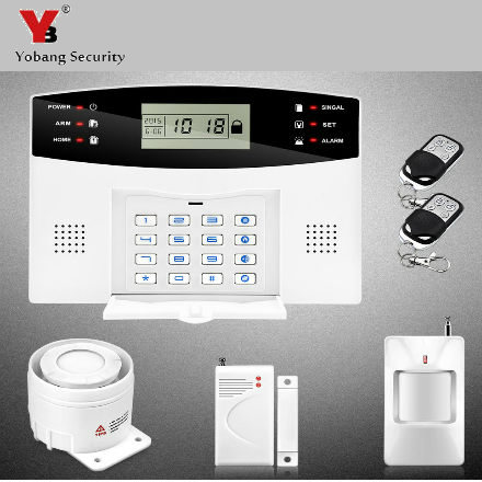 YoBang Security 433MHZ Home Remote Control LCD Wireless GSM Alarm System Keyboard Voice Promopt Alarm Sensor Suite.