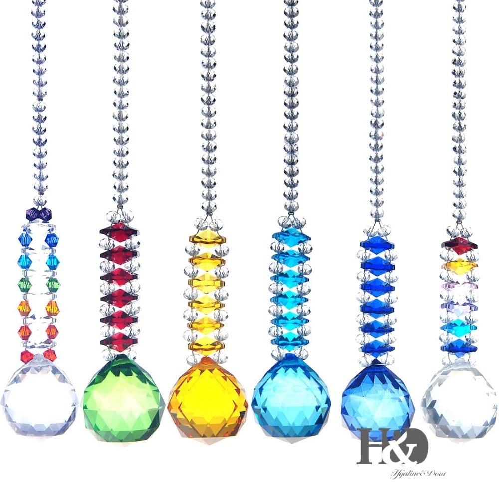 H&D 6PCS Rainbow Maker Crystal Ball Pendant Chandelier Prisms Hanging Drop Suncatcher Nautical Fengshui Wedding Home Party Decor