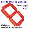 """72 """"cor vermelha módulo números digita, led display de 72 segmento 7 polegadas, Alto brilho led chip, display led de contagem regressiva, controle remoto"""