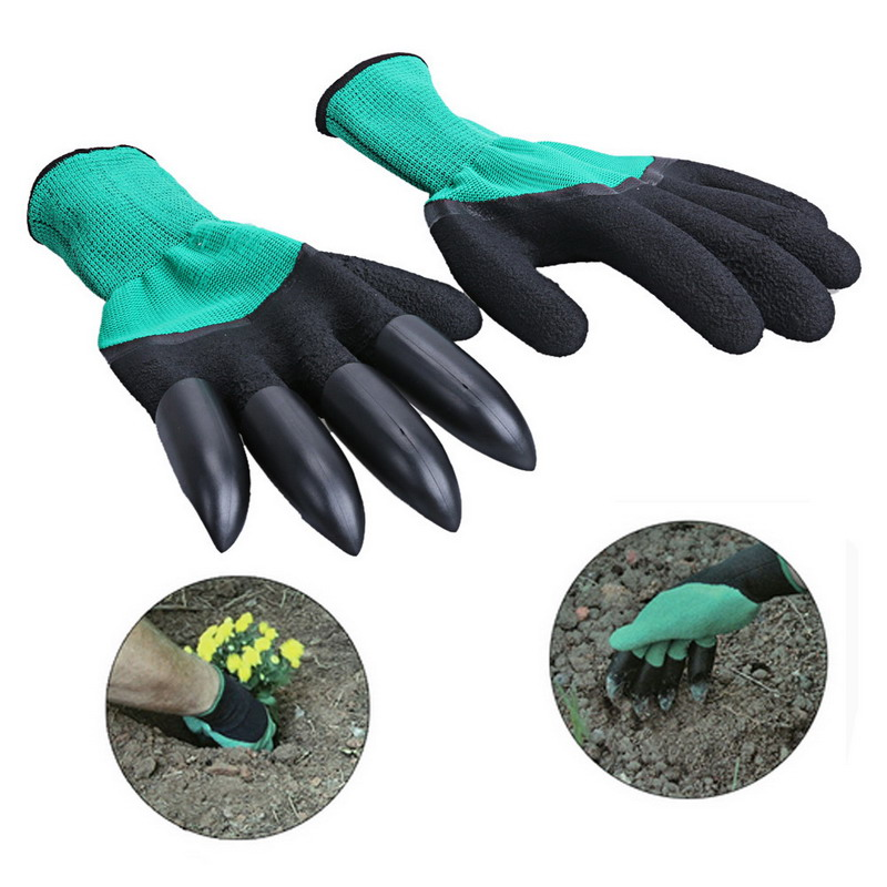 1 Pair Garden Gloves ABS Plastic Garden Genie Rubber Gloves With Claws Quick Easy To Dig And Plant