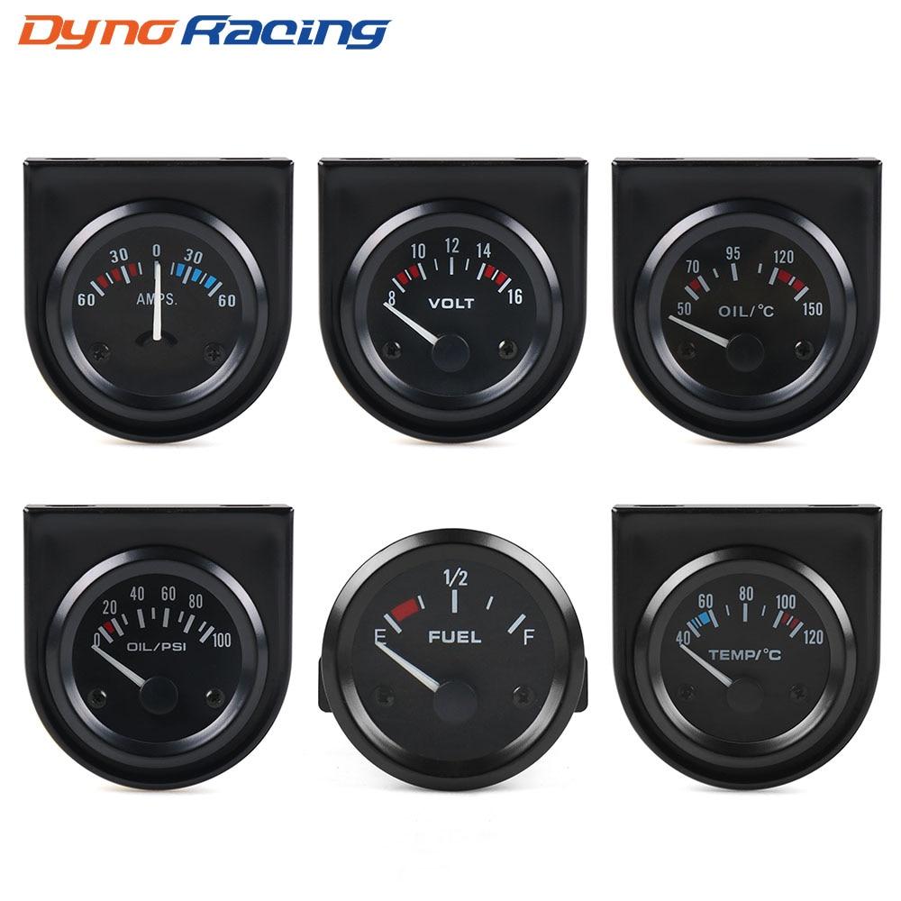2INCH 52MM Black Volt meter Water temp Oil temp gauge Oil press gauge Fuel  level gauge AMP Meter Triple gauge kits Car meter