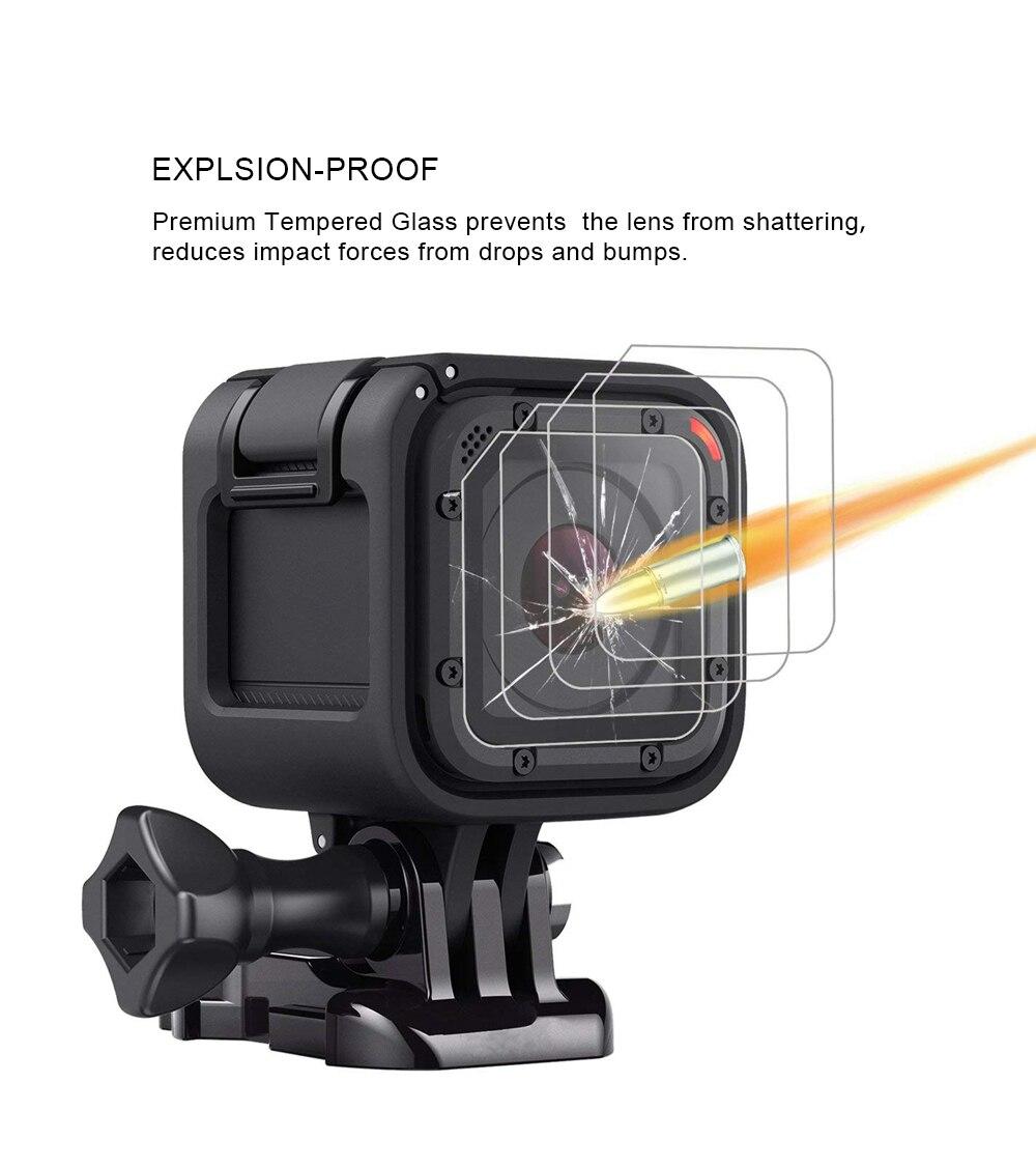 2шт закаленное стекло протектор для GoPro герой 4 сессии Героя 5 сессии линзы устойчивый к царапинам защитная пленка Pro аксессуары