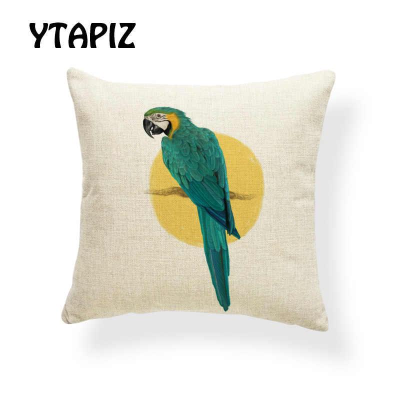 2019 хит продаж наволочка с рисунками птиц попугай Воробей Ворон Magpie синий желтый серый красный декоративная наволочка из полиэстера