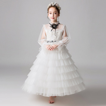 Beading Holy Communion Dress Princess Layered Dress Long Sleeve Flower Girl Dresses for Wedding Luxury Birthday Costume B427