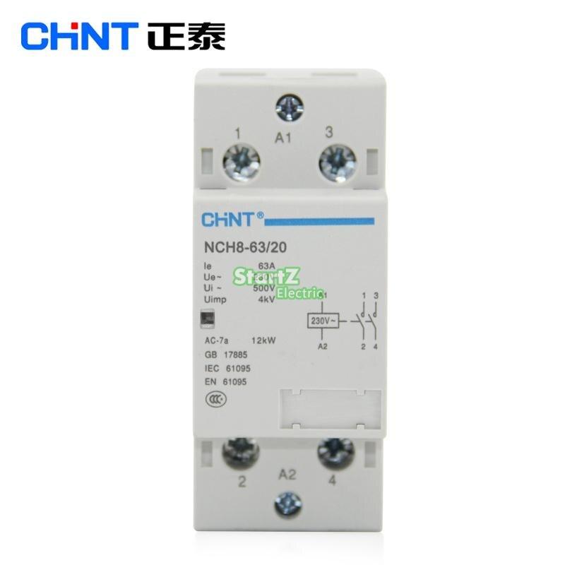 CHNT NCH8-63/20 63A 230 v 2NO Din rail Ménage AC Contacteur