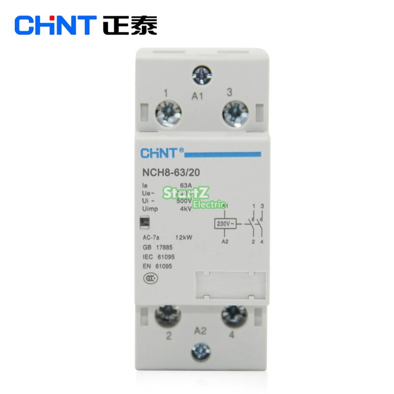 CHNT NCH8-63/20 63A 230V 2NO Din rail Household AC Contactor