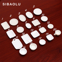 10pc/lot White Color Dinner plate Miniature Figurine DIY Simulation Food Accessories Doll House Decoration  plastic girl toy