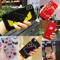12 Styles Rhinestone Diamond Fitted Phone Case For iPhone X 8 7 Plus 6 6S Plus Cute Cat Hello kitty Bear Phone Back Cover Cases