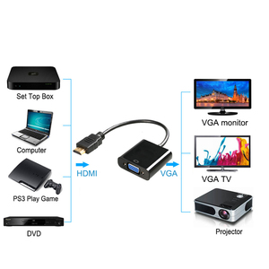 Image 2 - 1080P HDMI to VGA Adapter  Digital to Analog Video Audio For PC Laptop Tablet Male To Famale Converter Adapter
