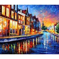Modern landscape art amsterdam sunday night Palette knife oil painting on canvas High quality Handmade home decor