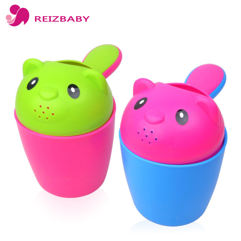 REIZBABY Summer Bear Baby Bath Cup 2 Colors Shampoo Shield Shower ...