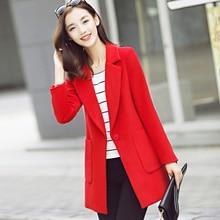 Women Jacket New Arrival Limited Full Solid Single Turn-down Collar Autumn 2017 Korean Women's Wool Coat Slim Size Female Long