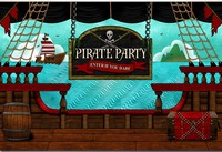custom Pirate Pirates Birthday ship sea backdrop High quality Computer print party backgrounds