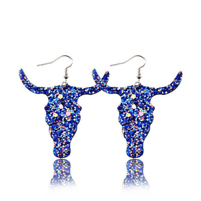 Suki 2019 Fashion Bling Glitter Sapi Bull Bentuk Kepala Kulit PU Anting-Anting untuk Wanita Anting-Anting Suku Perhiasan Besar Statement Anting-Anting
