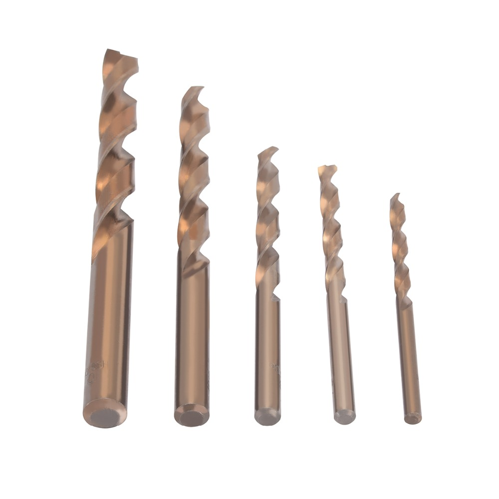 5pcs/set HSS-CO Twist Drill Bit High Speed Steel 5% Cobalt Drill Bits Set 4/5/6/8/10mm For Power Tool 98pcs set 1 5 10mm high speed steel titanium coated cobalt hss co steel twist drill bit set power tools wood metal drilling
