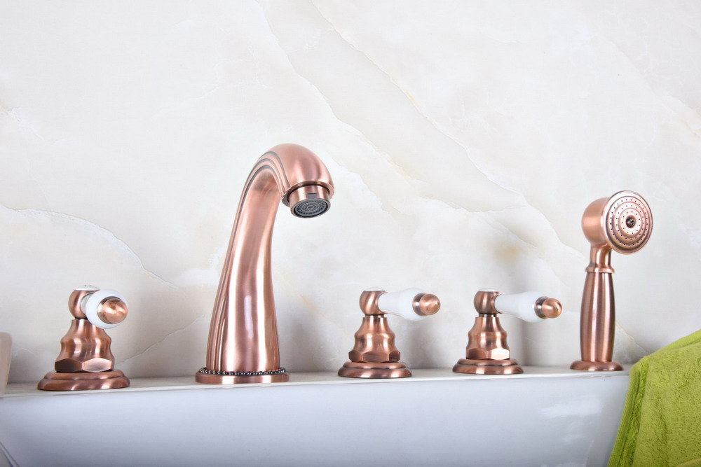 Antique Red Copper Brass Widespread 5 Hole Bathroom Roman Tub Bath Faucet with Telephone Style Hand Held Shower Head atf189Antique Red Copper Brass Widespread 5 Hole Bathroom Roman Tub Bath Faucet with Telephone Style Hand Held Shower Head atf189