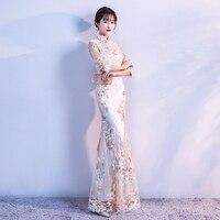 2018 nowy nowoczesne formalna chiński suknie czerwone koronki niebieski oraz cheongsam qipao długa czerwona suknia ślubna suknie odzież dla kobiet