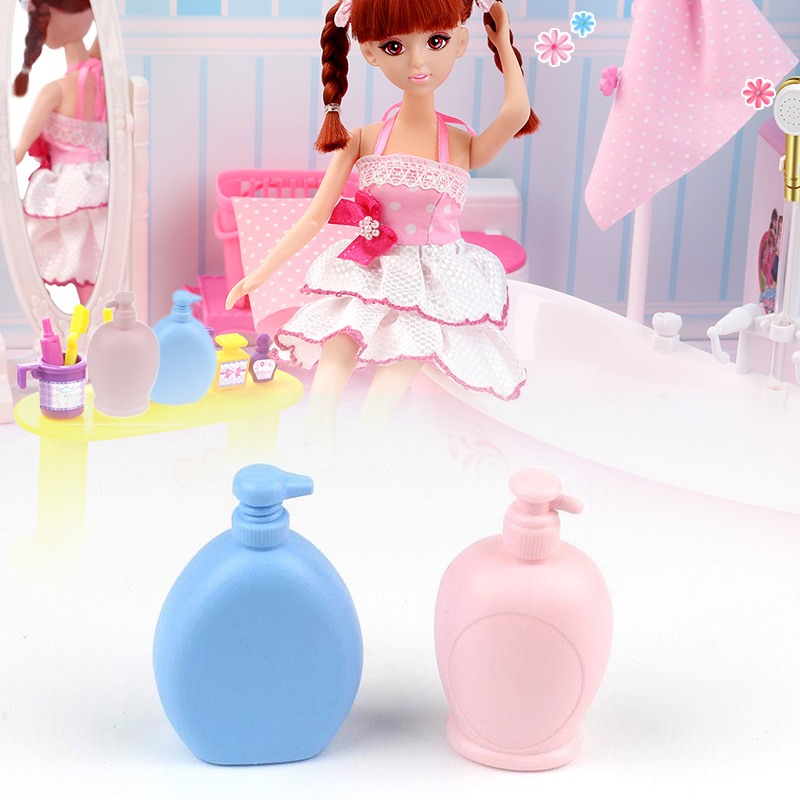 Mini Doll Shampoo Bottle Bath Soap Water Storage Container Accessories Decor Kids Toys Plastic Baby Kids Bathing Bathroom Play
