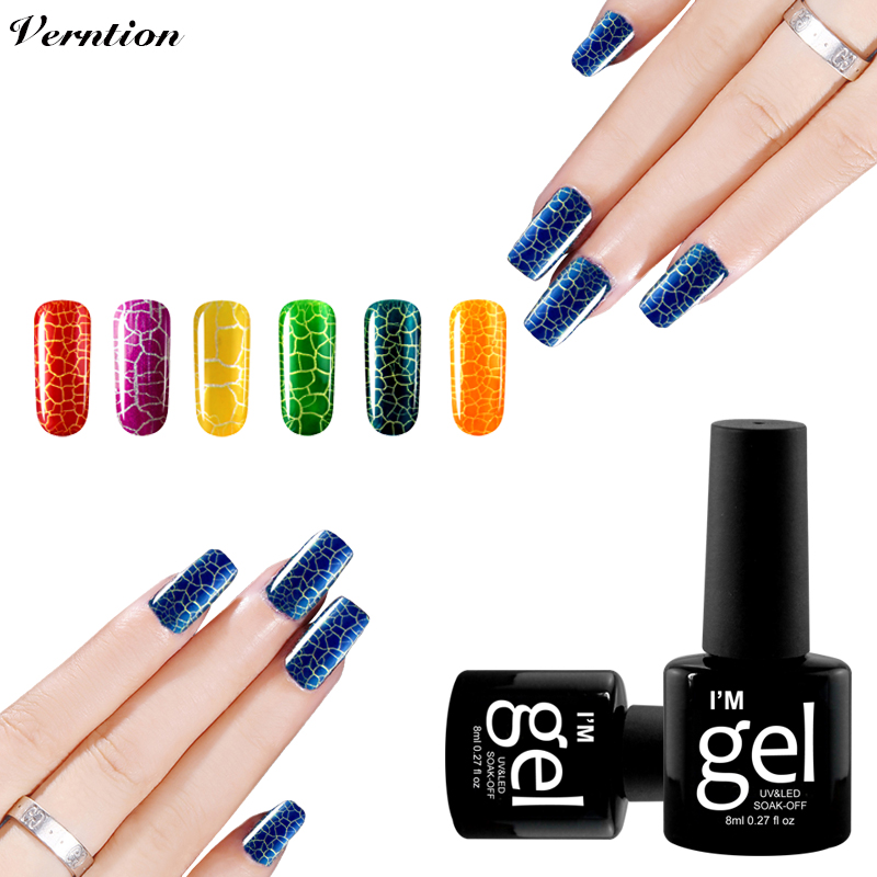 Verntion UV LED Light Crackle Gel Nail Polish Nail Art 12 Colorful Gel New Arrival Semi Permanent Cracking Shatter Nails Lacquer