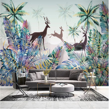 Custom 3d wallpaper mural hand-painted Nordic forest animal tropical plant landscape wall - high-grade waterproof material