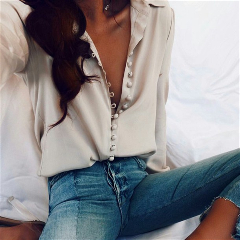 1pc New Autumn Women Clothing Fashion   Blouse     Shirt   Solid Buttons Long Sleeve   Shirts   Tops Ladies OL   Shirt   White OL   Shirt